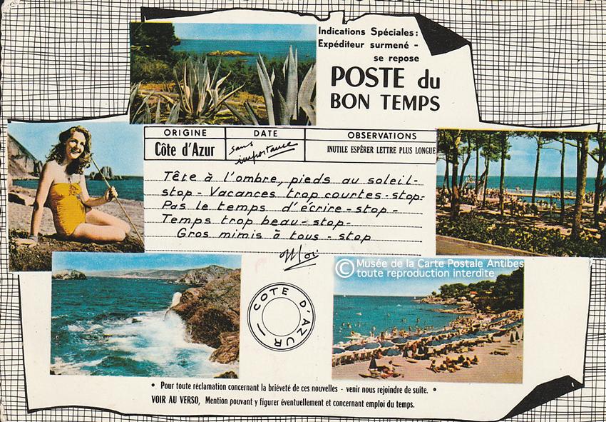 Carte postale pour paresseux qui passent du bon temps sur la Cote d'Azur.