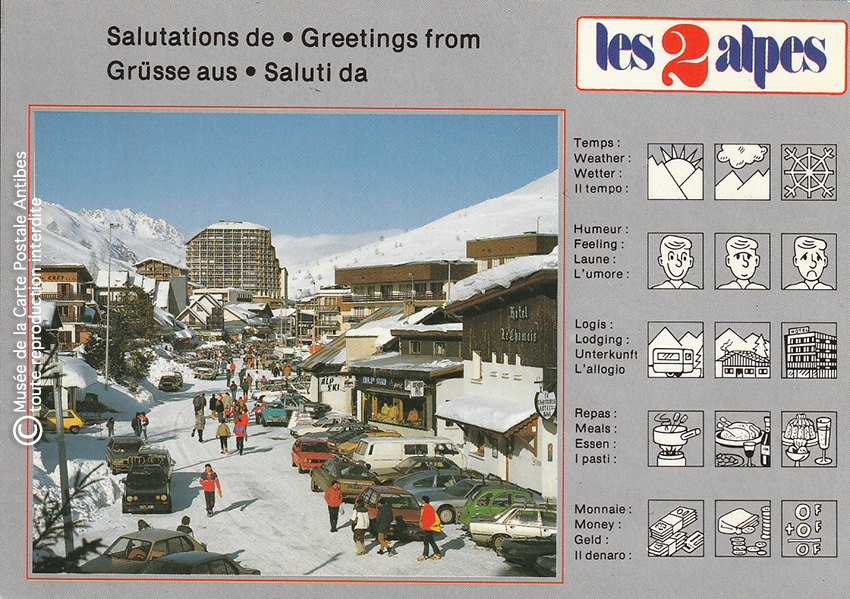 Carte postale pour paresseux de la station les 2 Alpes.