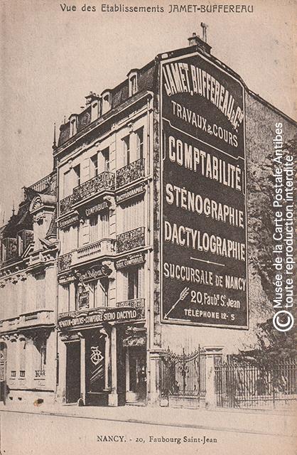Carte postale publicitaire représentant l'entreprise de comptabilité, sténographie et dactylographie Jamet Buffereau à Nancy, issue de notre exposition sur la sténodactylographie.