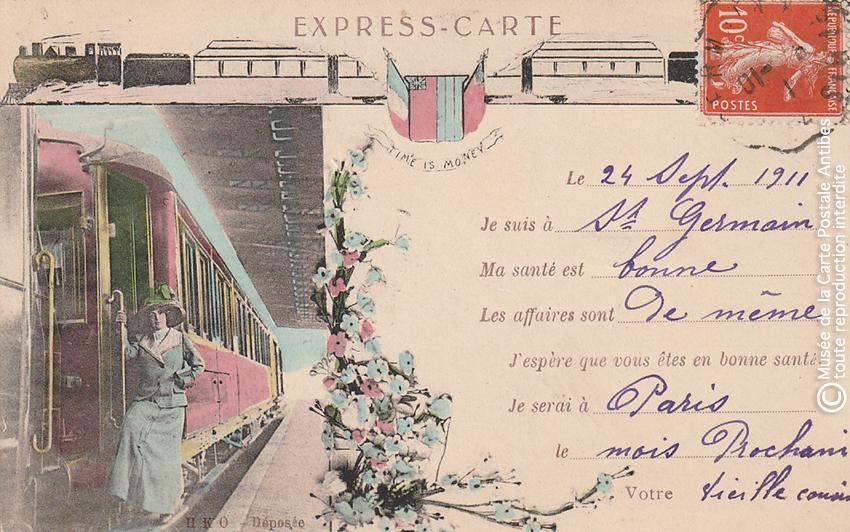 Carte postale pour paresseux : l'express-carte ayant voyagé en 1911.