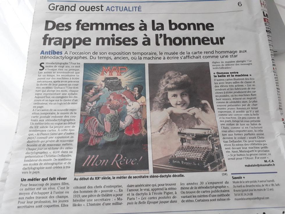 Article Nice Matin du 13/01/2019 sur l'exposition temporaie du musée de la carte postale : la sténodactylographie.