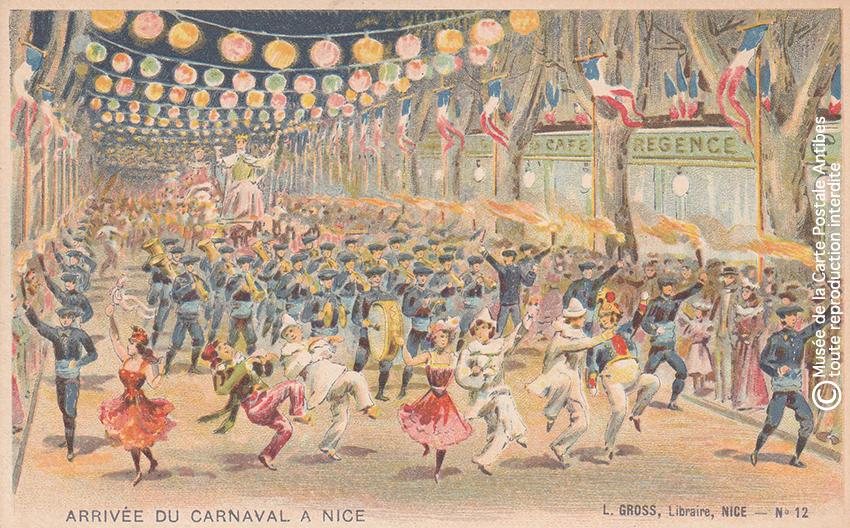 Carte postale ancienne représentant le Carnaval de Nice, issue des réserves du Musée de la Carte Postale situé à Antibes.