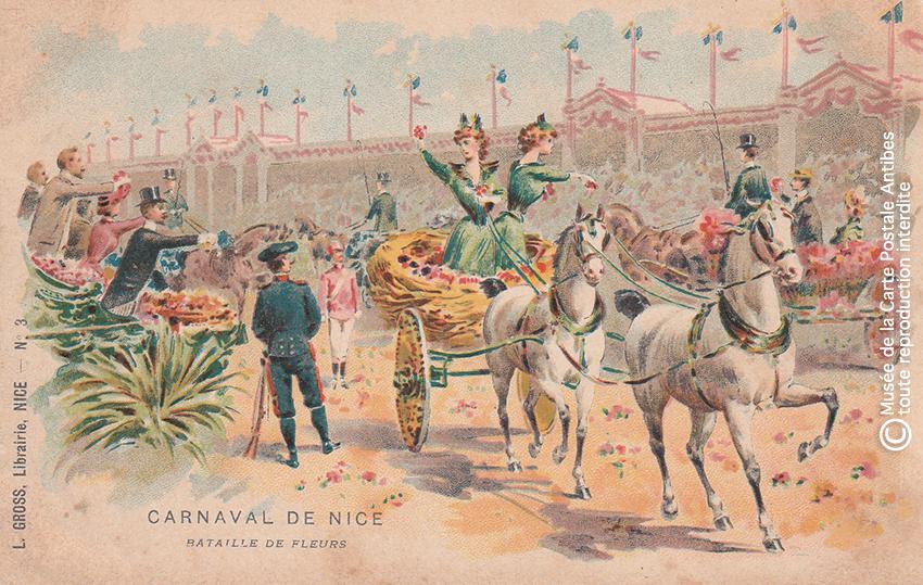 Carte postale ancienne représentant une bataille de fleurs au Carnaval de Nice, issue des réserves du Musée de la Carte Postale situé à Antibes.