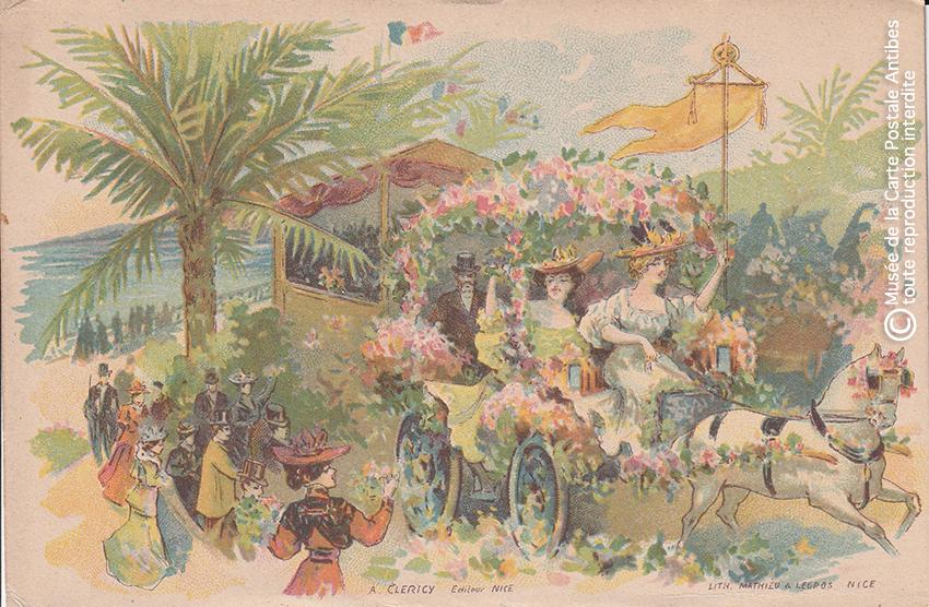 Carte postale ancienne représentant un char fleuri au Carnaval de Nice, issue des réserves du Musée de la Carte Postale situé à Antibes.