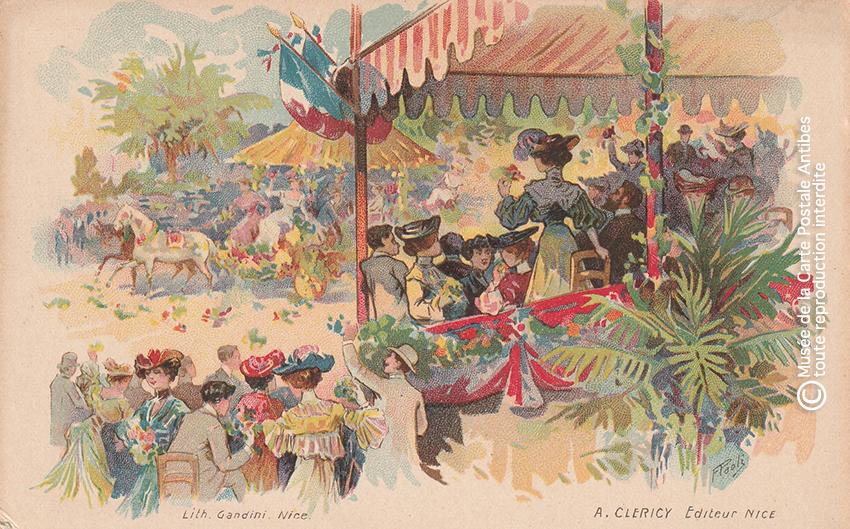 Carte postale ancienne représentant une tribune fleurie du Carnaval de Nice, issue des réserves du Musée de la Carte Postale situé à Antibes.