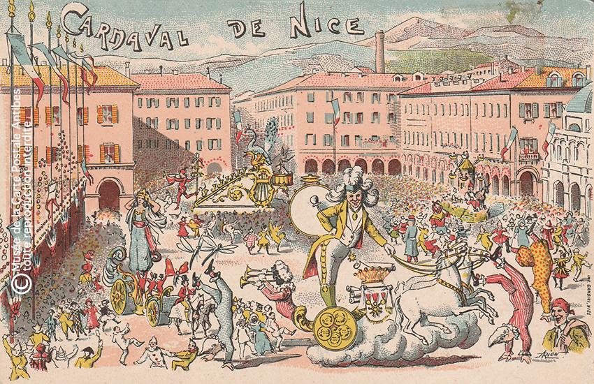 Carte postale ancienne représentant la place Masséna lors du Carnaval de Nice, issue des réserves du Musée de la Carte Postale situé à Antibes.