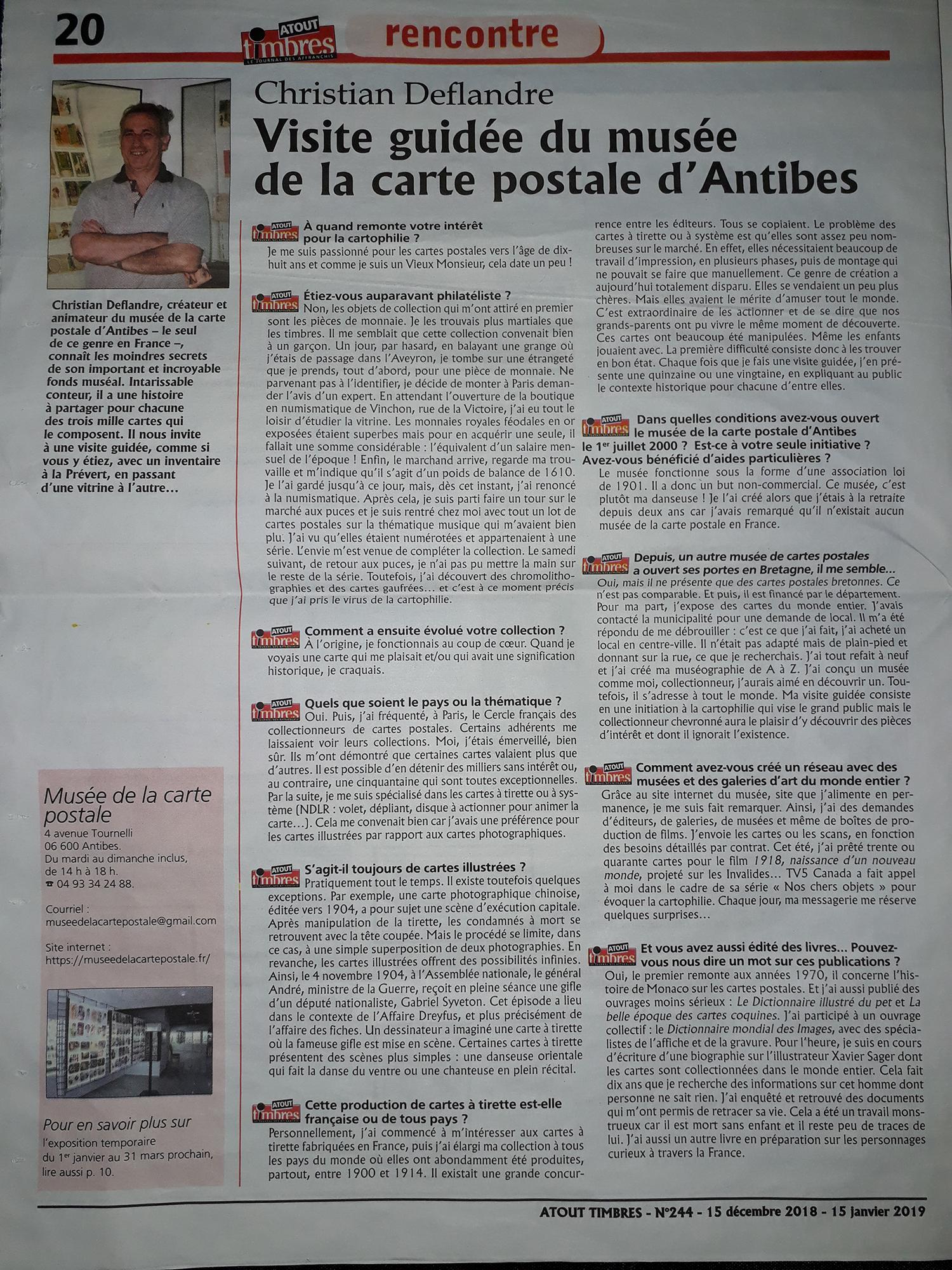 Article dans Atout timbres du 15/12/2018 sur le Musée de la Carte Postale à Antibes.