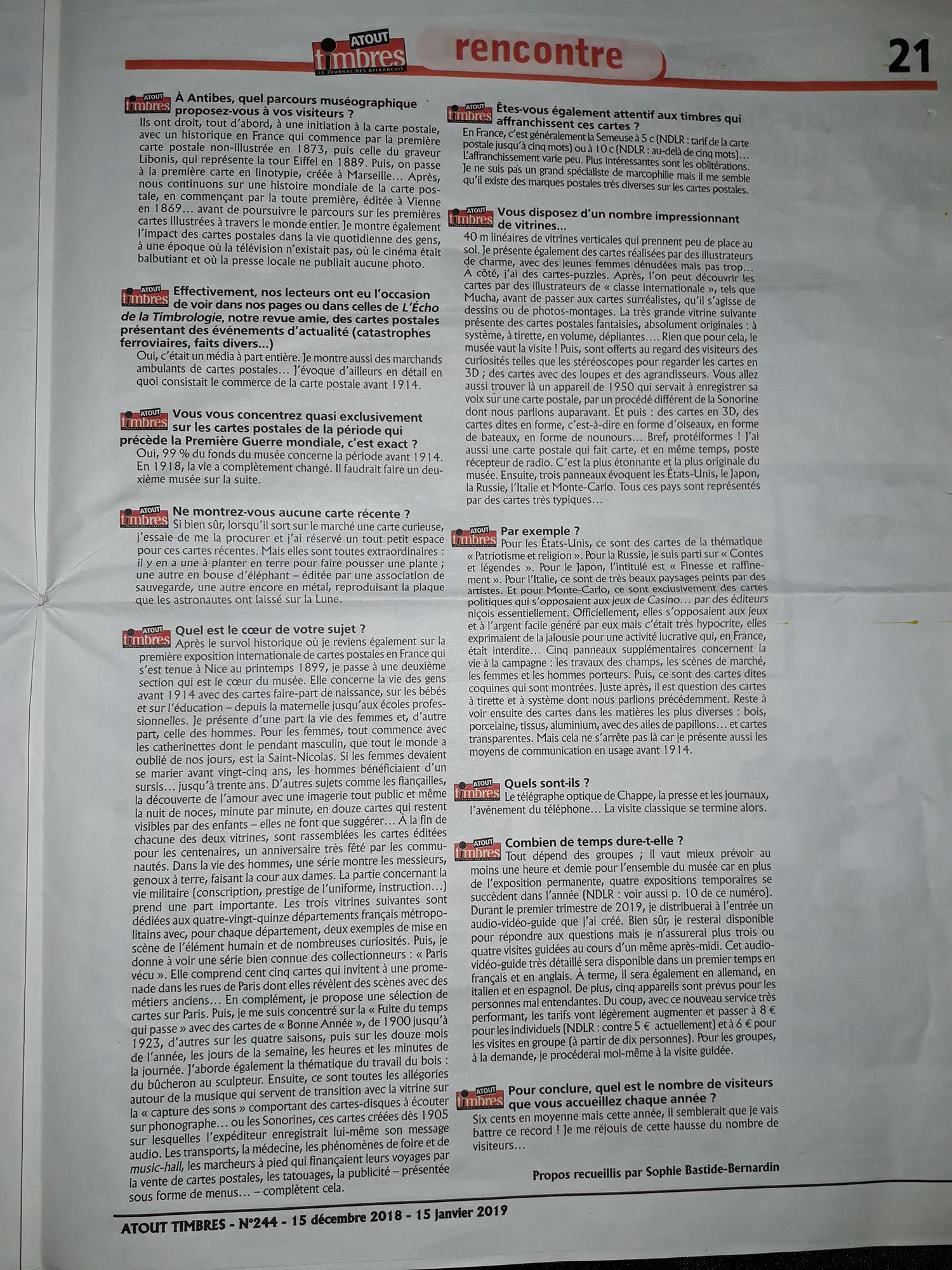 Suite de l'article dans Atout timbres du 15/12/2018 sur le Musée de la Carte Postale à Antibes.