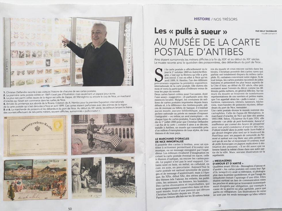 Article dans Nous supplément Nice Matin du 19/01/2019 sur le Musée de la Carte Postale à Antibes.