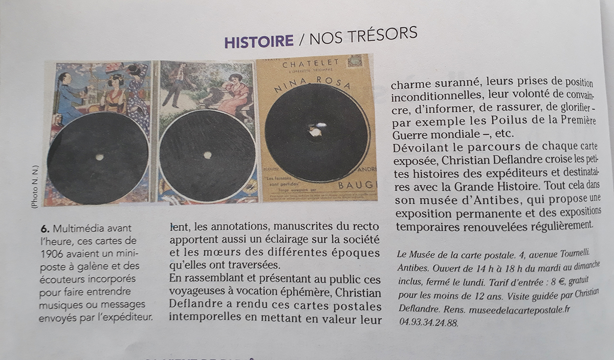 Suite de l'article dans Nous supplément Nice Matin du 19/01/2019 sur le Musée de la Carte Postale à Antibes.