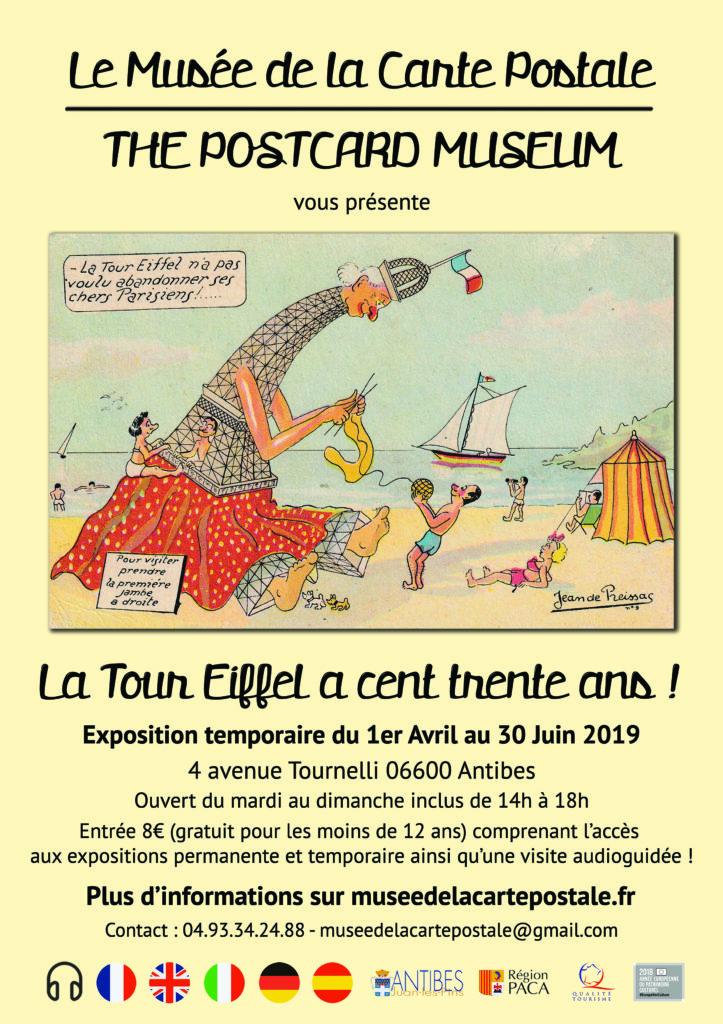 Affiche du musée de la Carte Postale sur l'exposition temporaire des 130 ans de la Tour Eiffel.