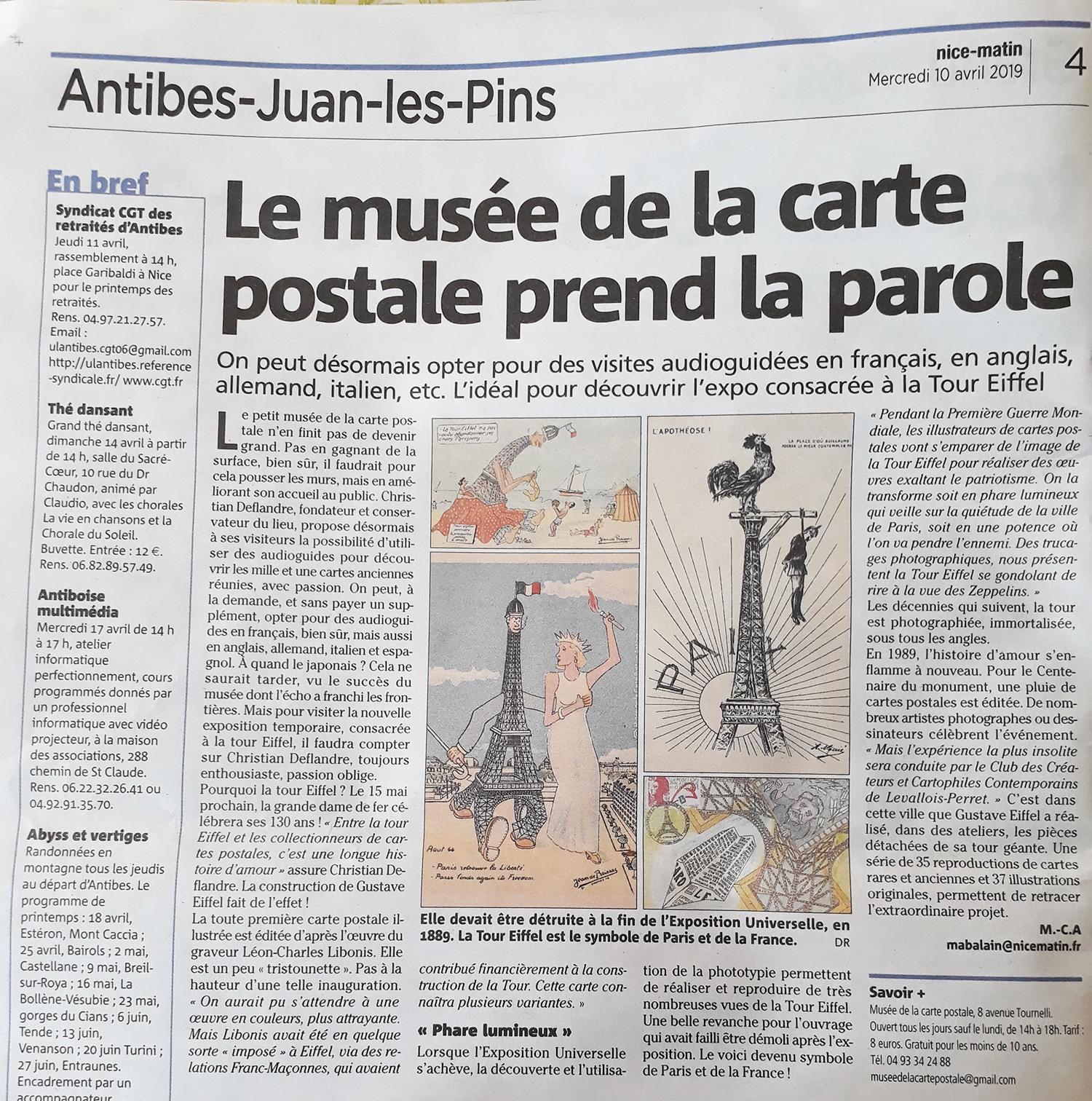 Nice Matin du 10/04/2019 sur le musée de la Carte Postale à Antibes.