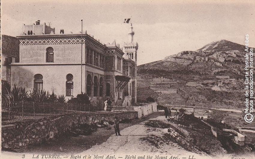 Carte postale ancienne représentant le restaurant Righi de La Turbie et le Mont Agel.