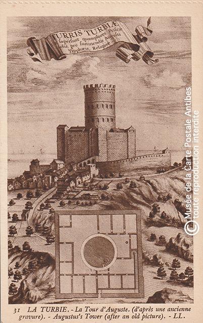 Carte postale ancienne représentant la Tour d'Auguste à La Turbie.