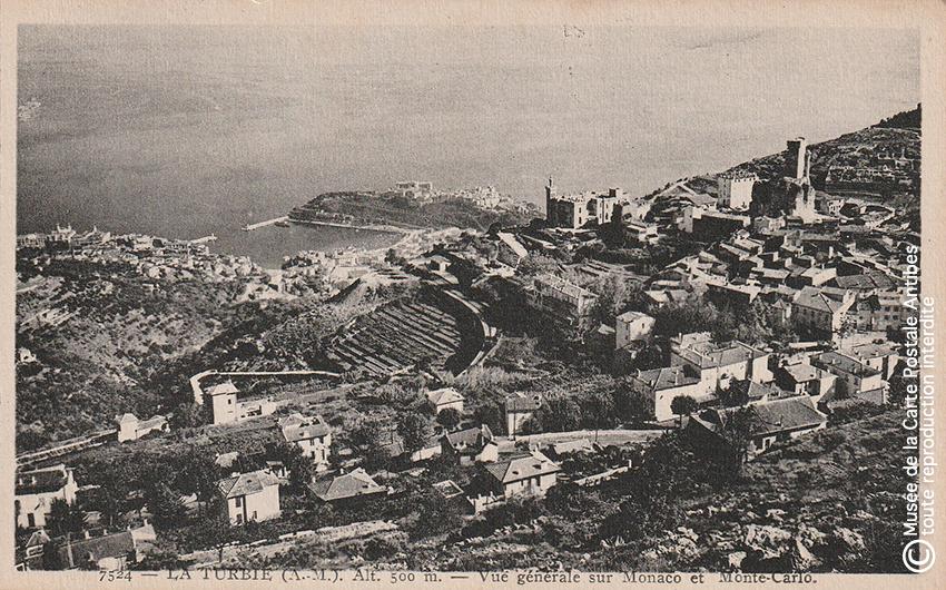 Carte postale ancienne représentant la vue sur Monaco Monte Carlo depuis La Turbie.