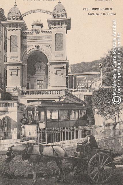Carte postale ancienne représentant la gare pour La Turbie, à Monte-Carlo.