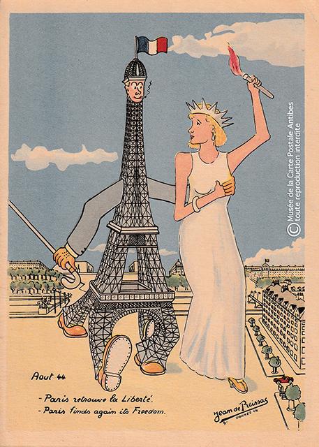 Carte postale ancienne illustrant la Tour Eiffel et la Statue de la Liberté à la lin de la seconde guerre mondiale.