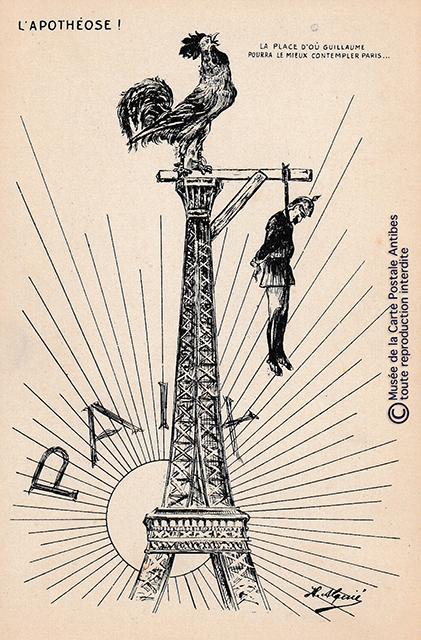 Carte postale ancienne représentant la Tour Eiffel comme potence des ennemis de la France.