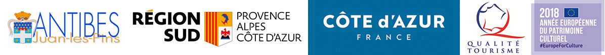 Logos des labels et partenaires du Musée de la Carte Postale à Antibes.