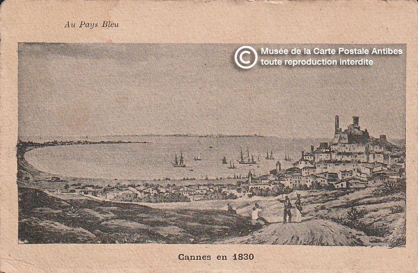 Carte postale représentant Cannes en 1830, issue des réserve du musée de la carte postale, à Antibes.
