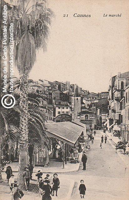 Carte postale ancienne représentant le marché à Cannes, issue des réserve du musée de la carte postale, à Antibes.