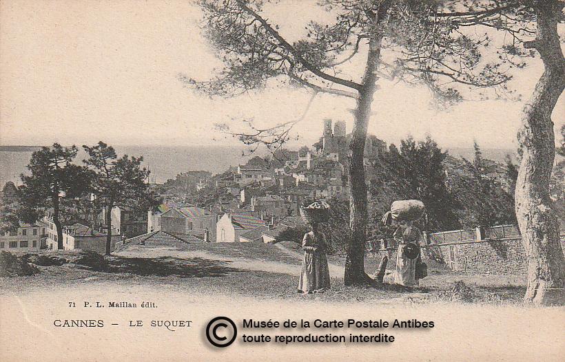 Carte postale ancienne représentant le Suquet à Cannes, issue des réserve du musée de la carte postale, à Antibes.