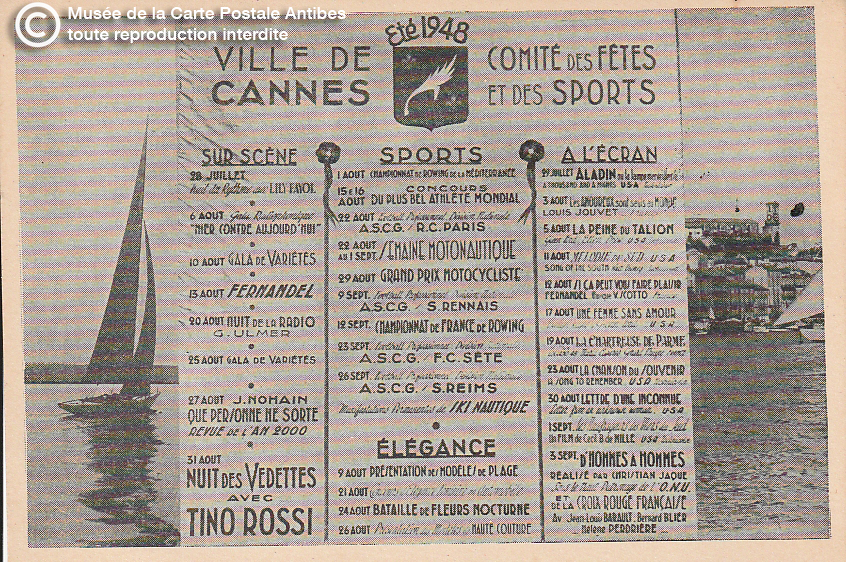 Carte postale ancienne représentant les événements à Cannes durant l'été 1948, issue des réserve du musée de la carte postale, à Antibes.