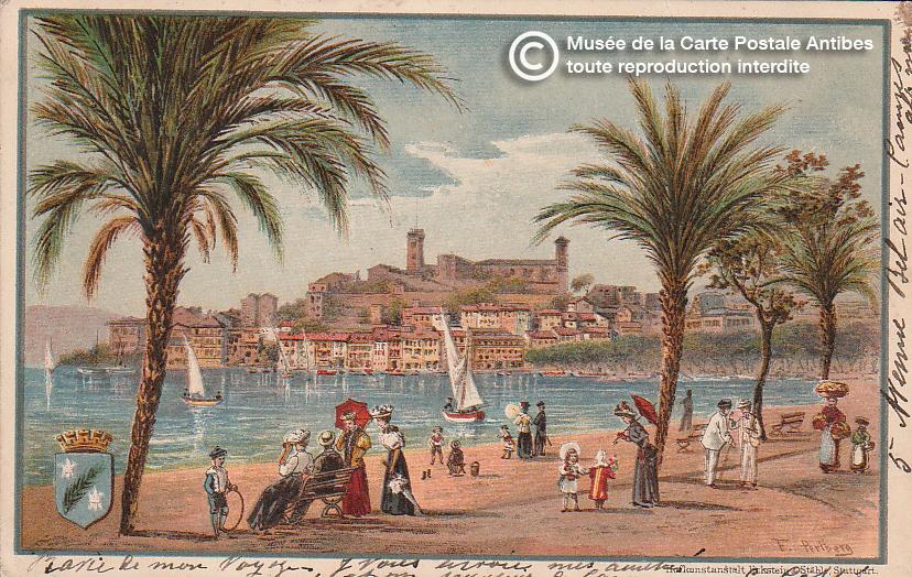 Carte postale ancienne représentant la croisette à Cannes, issue des réserve du musée de la carte postale, à Antibes.