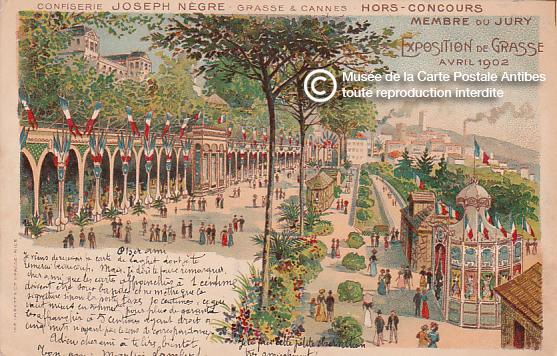 Carte postale illustrée représentant l'exposition de Grasse en Avril 1902.