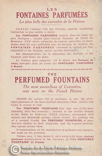 Carte postale évoquant les fontaines parfumées de Grasse.
