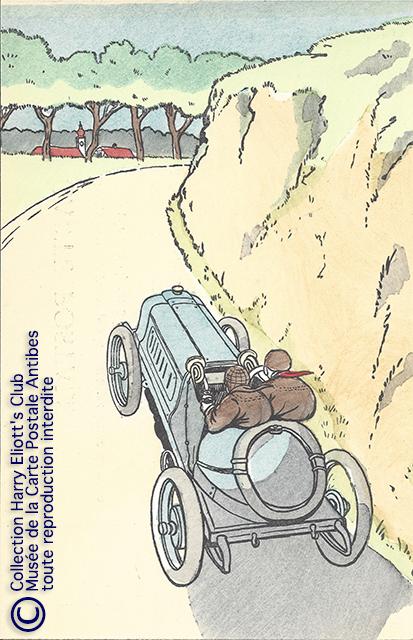 Carte postale illustrée par Harry Eliott, représentant une automobile DELAHAYE.