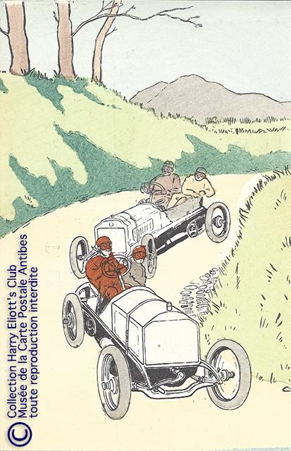Carte postale illustrée par Harry Eliott, représentant des automobiles DELAHAYE.