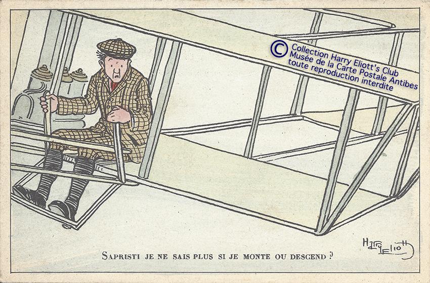 Carte postale illustrée par Harry Eliott, représentant les débuts de l'aviation.