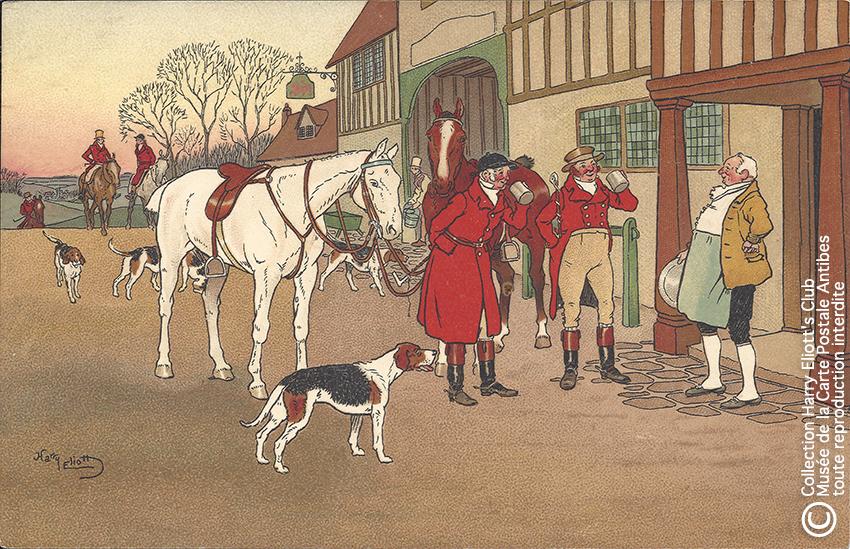 Carte postale illustrée par Harry Eliott, représentant des cavaliers de retour de chasse.