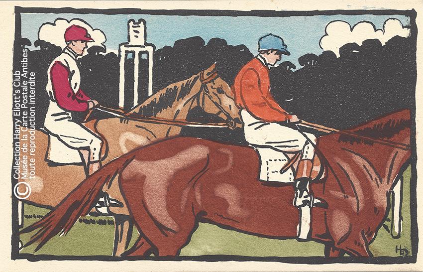 Carte postale illustrée par Harry Eliott, représentant des cavaliers.