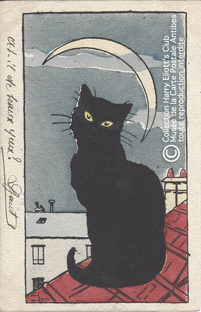 Carte postale illustrée par Harry Eliott, représentant un chat noir sur un toit, sous la Lune.