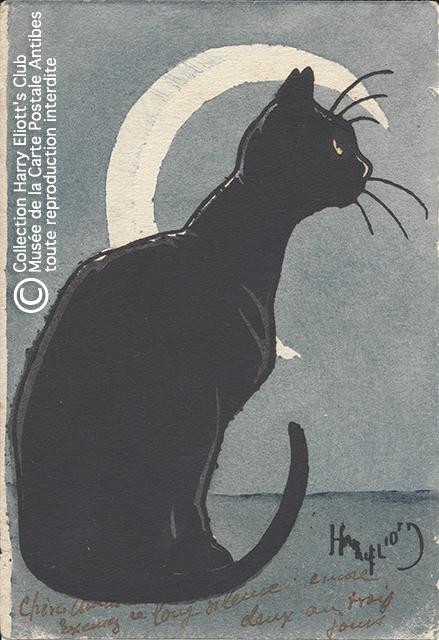 Carte postale illustrée par Harry Eliott, représentant un chat noir sous un croissant de Lune.