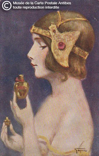 Carte postale illustrée représentant une femme et son flacon de parfum.