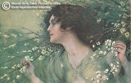 Carte postale illustrée représentant une femme et des fleurs.
