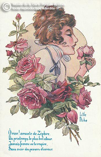 Carte postale illustrée représentant une femme et des fleurs de rose.