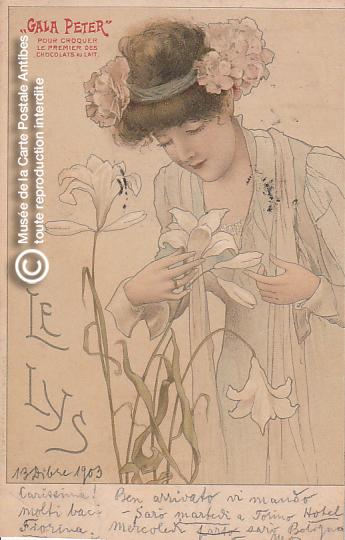 Carte postale illustrée publicitaire représentant une femme et des fleurs de lys.
