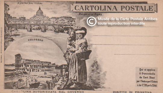 Carte postale ancienne illustrée représentant des monuments de Rome, en Italie.