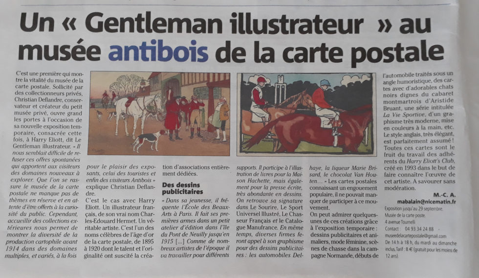 Article Nice Matin du 7 juillet 2019 sur l'exposition Harry Eliott au Musée de la Carte Postale, à Antibes.
