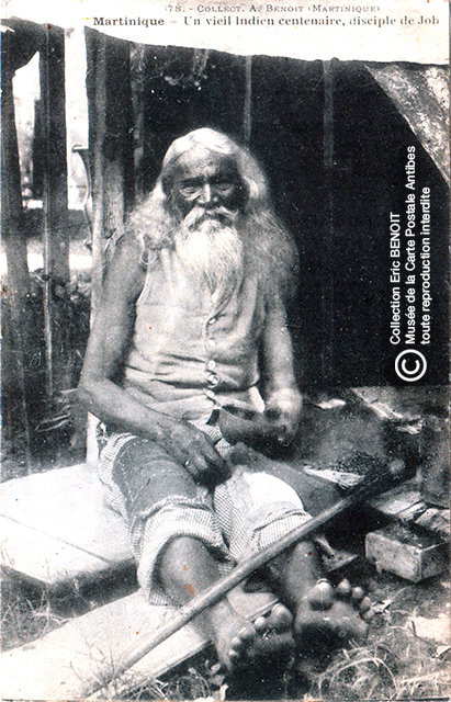 Carte postale (photo d'Armand BENOIT-JEANNETTE) représentant un indien centenaire, disciple de Job, en Martinique.