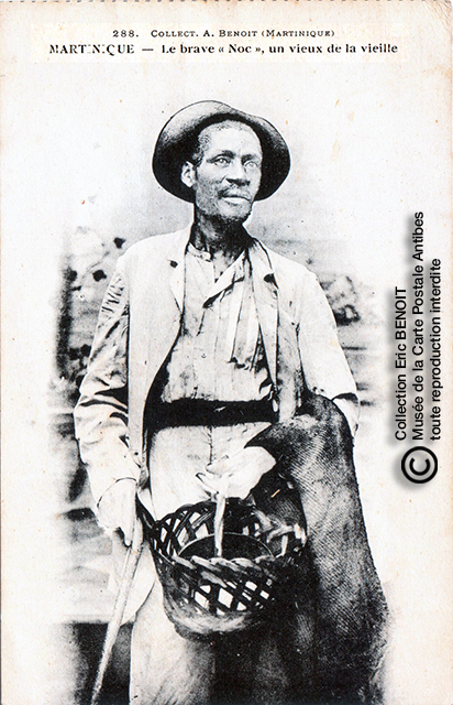 """Carte postale (photo d'Armand BENOIT-JEANNETTE) représentant le brave """"Noc"""", vieilliard martiniquais."""