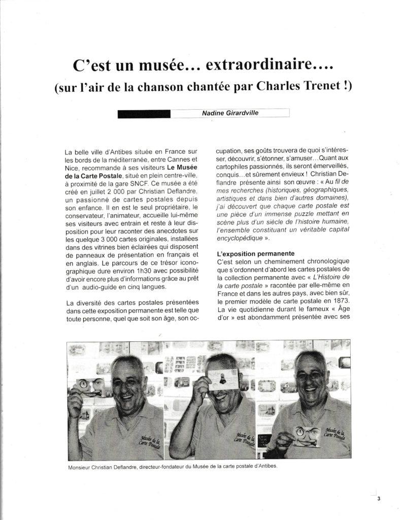 Article sur le musée de la carte postale à Antibes, issu du Bulletin du club des cartophiles quebequois n°110.
