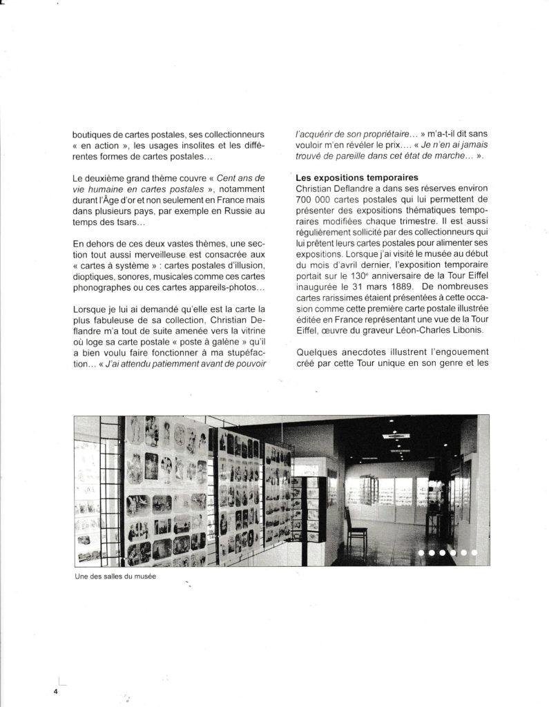 Article sur le musée de la carte postale à Antibes, page 2, issu du Bulletin du club des cartophiles quebequois n°110.