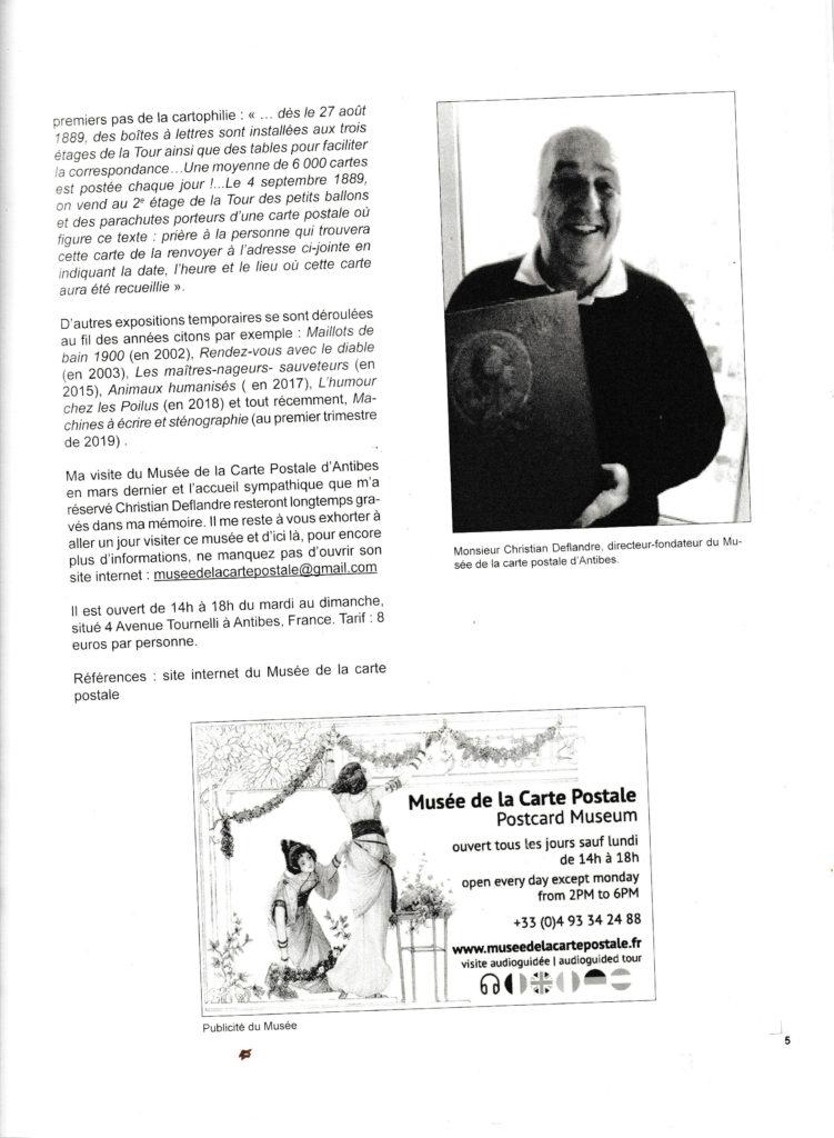 Article sur le musée de la carte postale à Antibes, page 3, issu du Bulletin du club des cartophiles quebequois n°110.