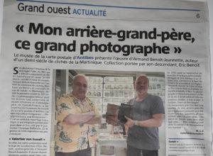 Article Nice Matin du 17/11/2019 sur l'exposition temporaire du Musée de la Carte Postale à Antibes, autour de la Martinique photographiée par Benoît-Jeannette.