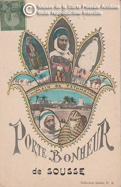 Carte postale porte bonheur avec représentation d'une main de Fathma.